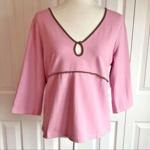 NWT Babystyle Maternity Pink & Brown Tulip Top XL